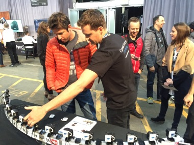 CamDo CEO Todd McCann shows Nick Woodward, GoPro CEO, a time slice array using CamDo's Bullet product.